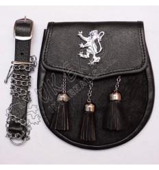 Black Grain leather and Black Goat Skin Sporran