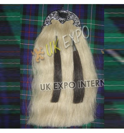Long Horse Hair Sporran white with Gold Plated Fitting Sporran with 5 knot Tassels