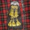 Black Horse Hair Sporran with 5 Golden Tessels