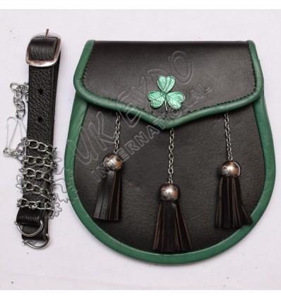 Irish Samrock on flap with green piping