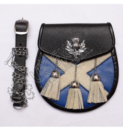 White Fur with Royal Blue Leather skin thistle on Flap