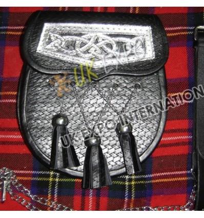 White Skull Backing Black Leather Fashion Sporrans