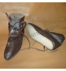 Civil War Black Real Leather Long Shoes