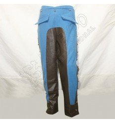 Sky Blue Color Riding breeches hussar Trouser with Brown Leather inseam