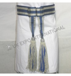 Army Sash Waist Belt Blue silk with Silver bullioln Waist Sash