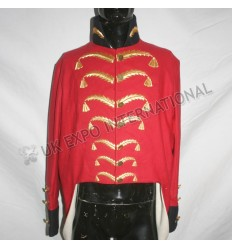Red Officer Tunic with Gold Braid Black Color and cuff with Gold cord Shoudlers