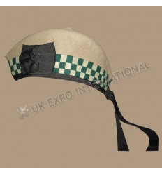 Desert Tan Glengarry Hat with white and Green dicing and Tan pom pom