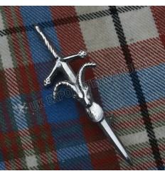 Mens Highland Kilt Pin Celtic Knot Work Design Irish Green Stone Celtic Kilt Pin
