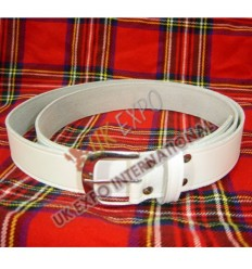 White Waist Belt 2inch Wide Round Buckle
