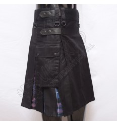Hybrid Decent Box Pleat Utility Kilt Attached pockets Black With Purple Cotton