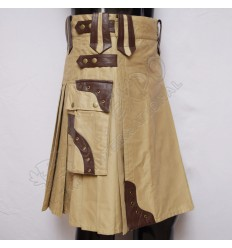 Gladiator Kilts Khaki with Brown Leather