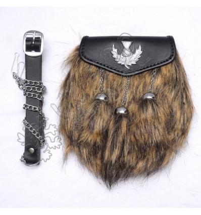 Brown Fox fur with Rampart lion on celtic embossed Semi Dress Sporrans