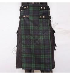 Hybrid Decent Box Pleat Utility Kilt Attached pockets Black With Purple Cotton